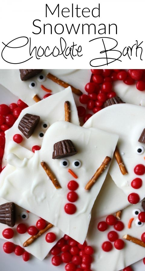 Melted snowman chocolate bark - a super easy holiday dessert A