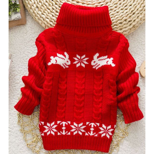 2017 New Winter Kids Infant Baby Cartoon Sweater Girls Clothes Child Pullover Girl Turtleneck Sweaters Children Warm Outerwear
