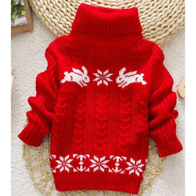 2017 New Winter Kids Infant Baby Cartoon Sweater Girls Clothes Child Pullover Girl Turtleneck Sweaters Children Warm Outerwear