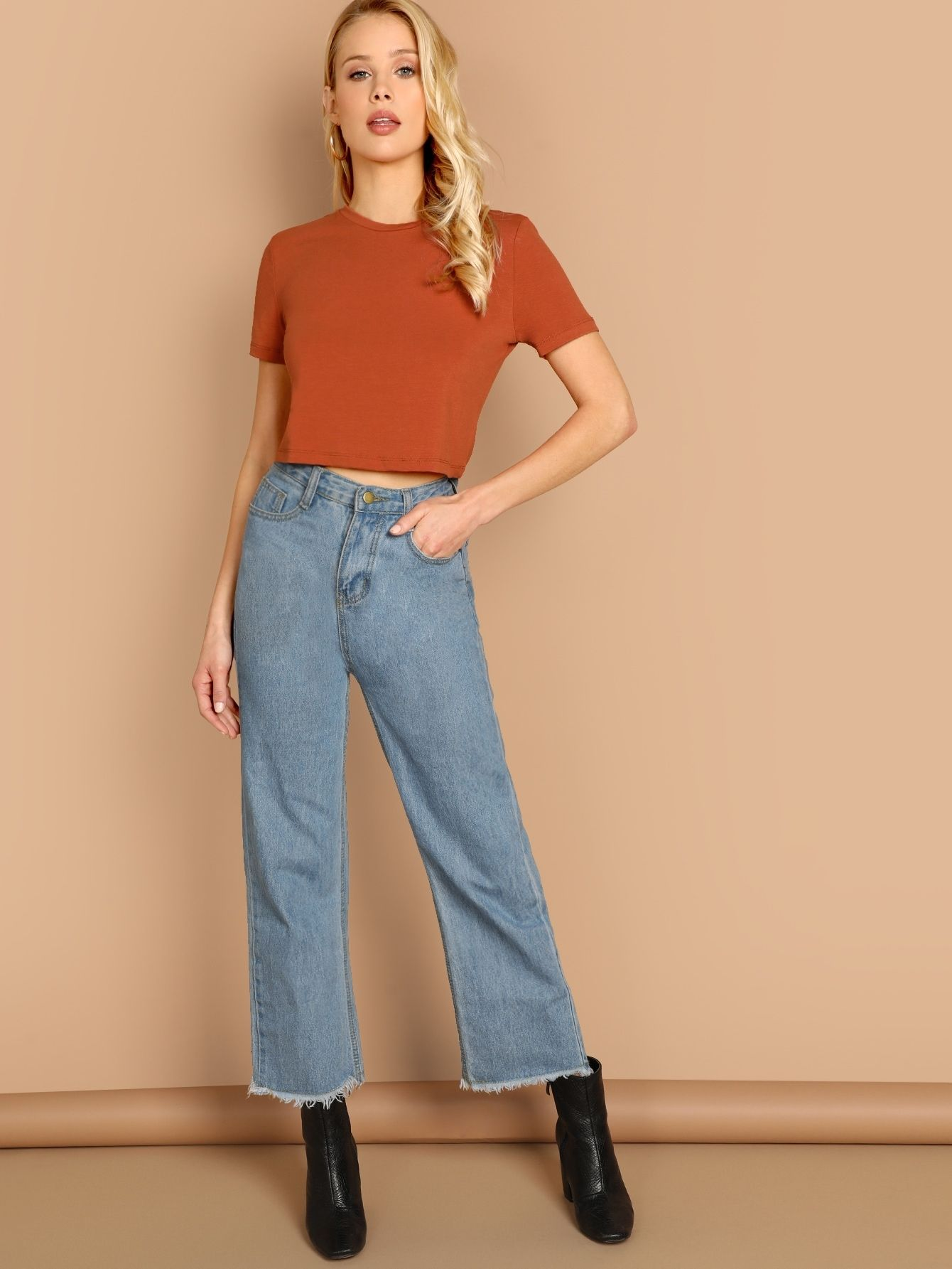 7e79a658a4571f Casual Plain Regular Fit Round Neck Short Sleeve Pullovers Rust Crop Length  Solid Round Neck Crop