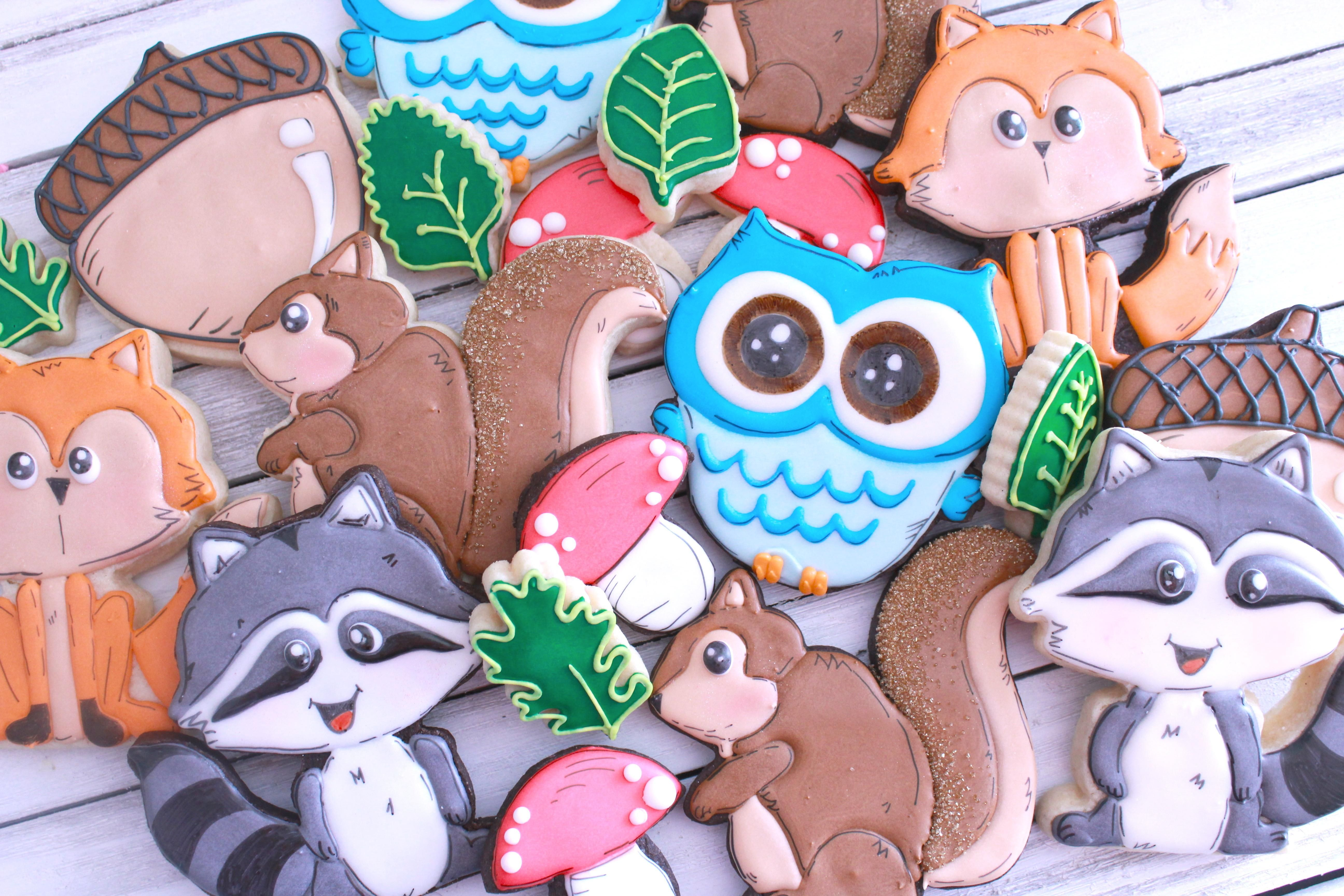 Cookies for a forest friends themed baby shower baking