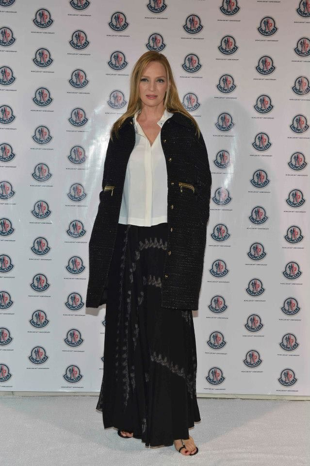 Uma Thurman, guest of honour at Moncler 60th Anniversary.
