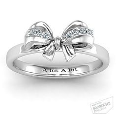 Sterling Silver Fancy Stone Set Bow Ring with White Swarovski