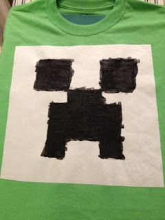 Minecraft Party  Make your own shirt! Holy moly best minecraft birthday party activity ever. I've made t- before and this template will be a breeze. Off to target to get some green shirts!  Note that I've never been able to find freezer paper in Australia so I've used duraseal contact paper