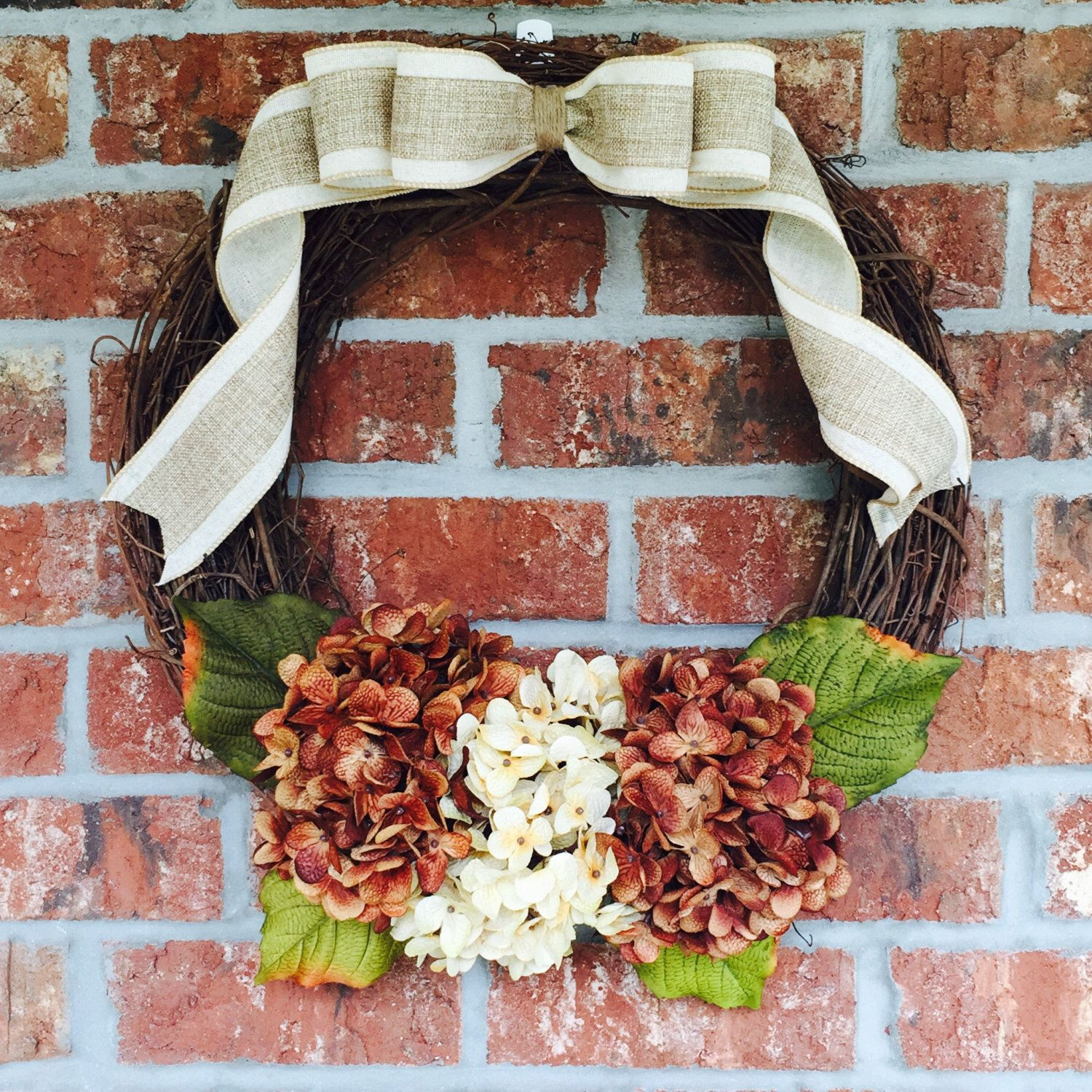 """18"""" Grapevine Wreath with Hydrangea Accents and Burlap Ribbon Bow by TheWhiteBow on Etsy https://www.etsy.com/listing/242684624/18-grapevine-wreath-with-hydrangea"""