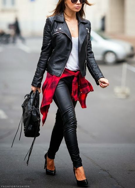 4a45798d890339 You can wear leather pants with a leather jacket! This looks great because  she broke it up with the plaid shirt.