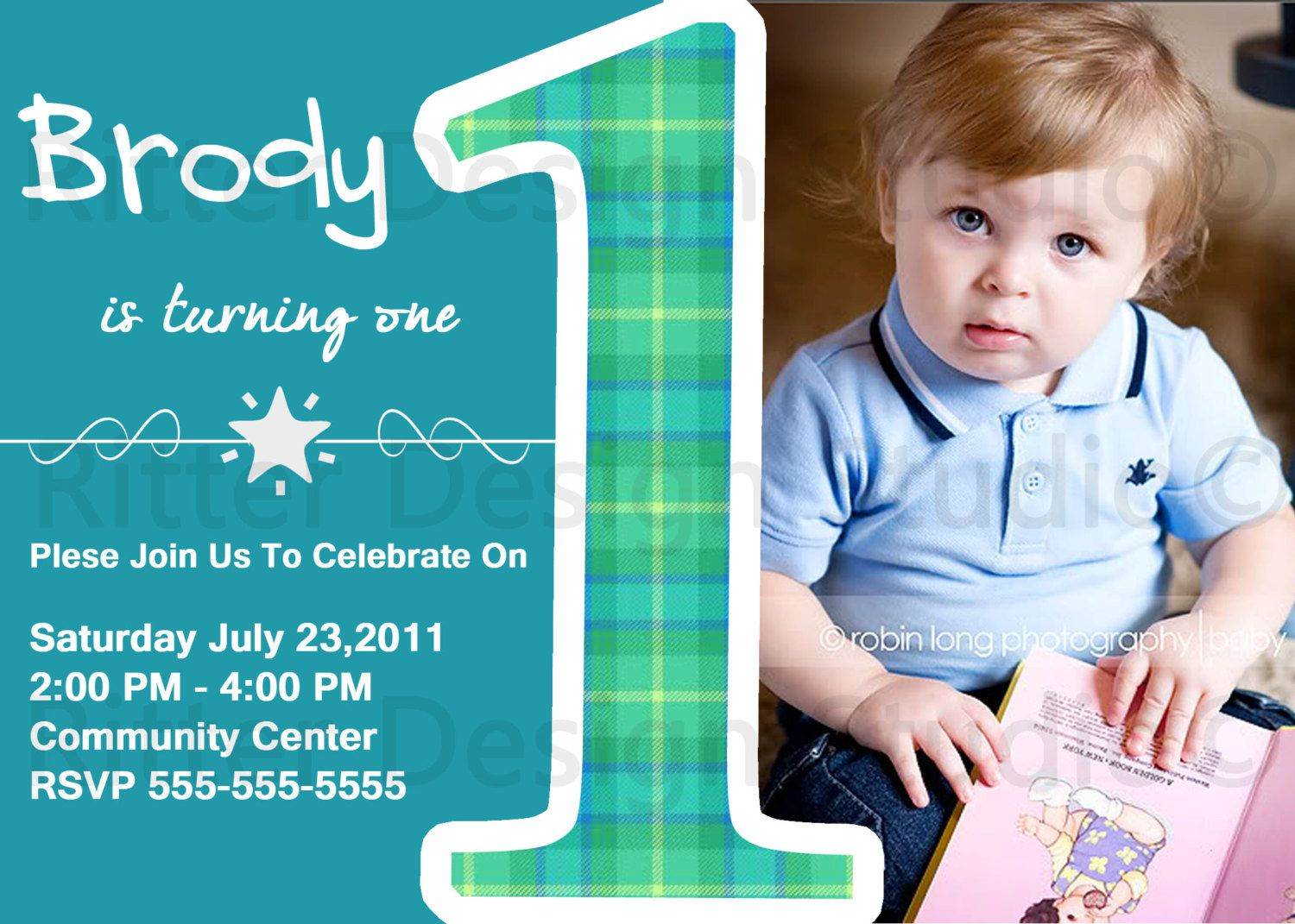 Baby Boy First Birthday Party Invitation Printable 1500 via