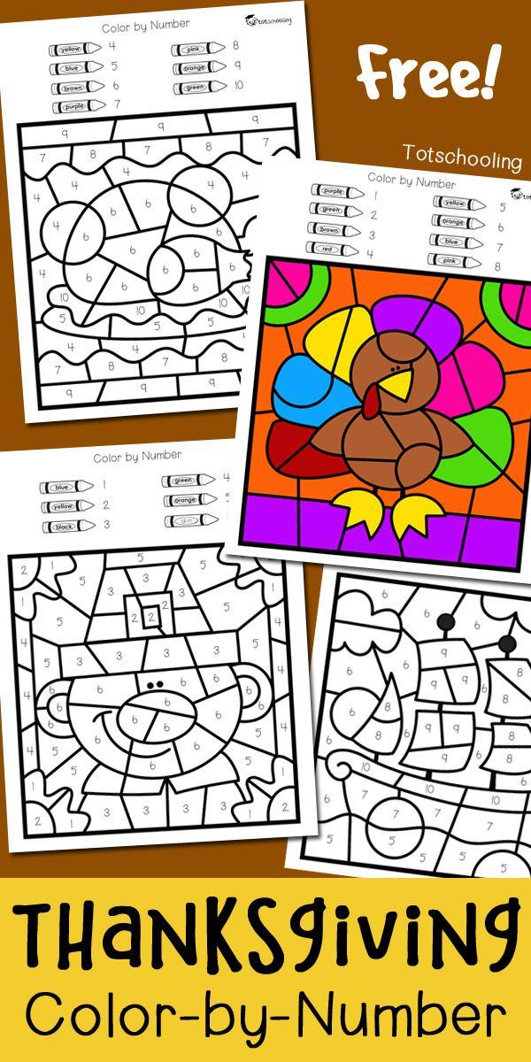Thanksgiving Color by Number | Escuela, Económicas y Salón