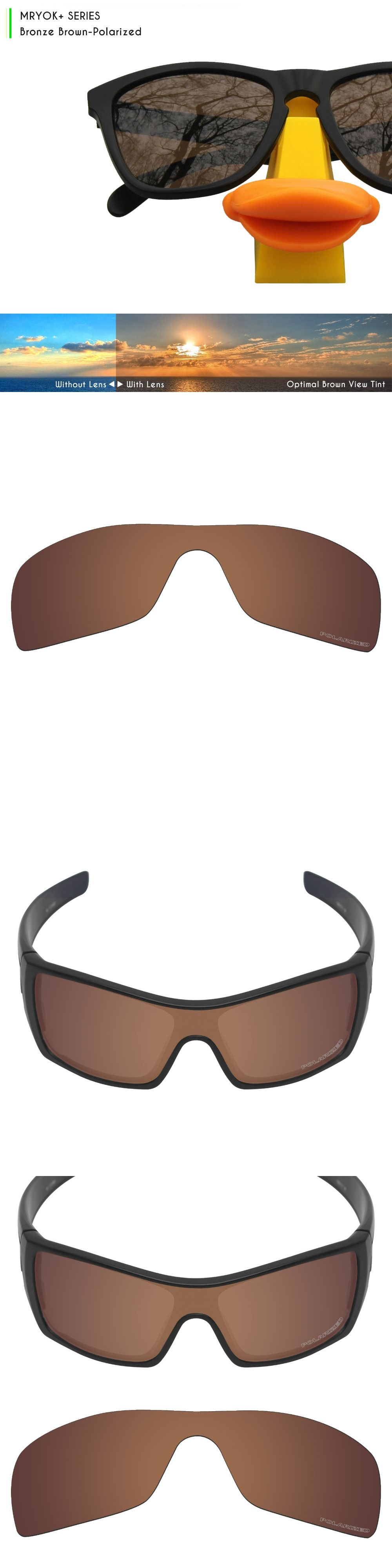 c9bccc06e5677 Mryok+ POLARIZED Resist SeaWater Replacement Lenses for Oakley Batwolf  Sunglasses Bronze Brown
