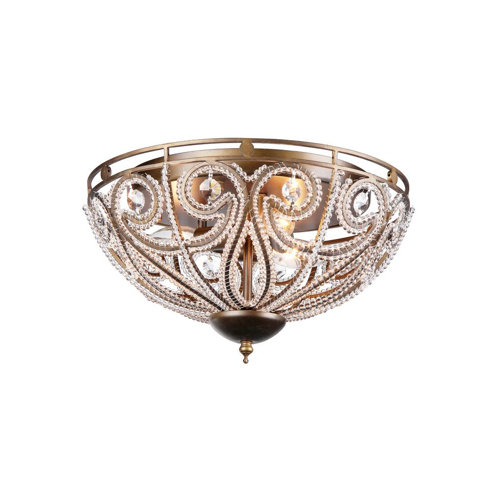 Warehouse Of Tiffany Claire 3 Light Bronze Flush Mount