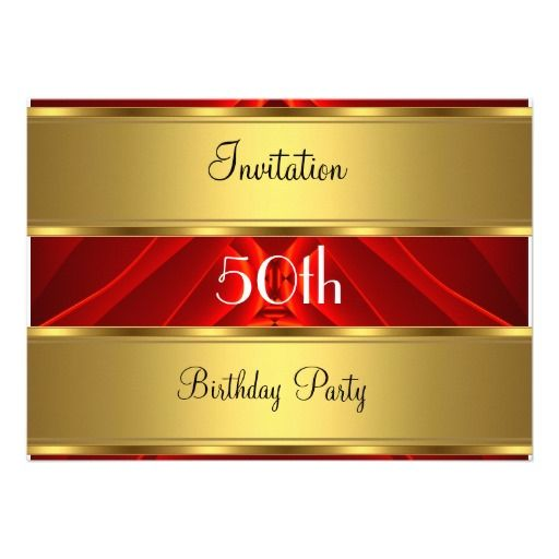 Red Gold 50th Birthday Party Personalized Invitation