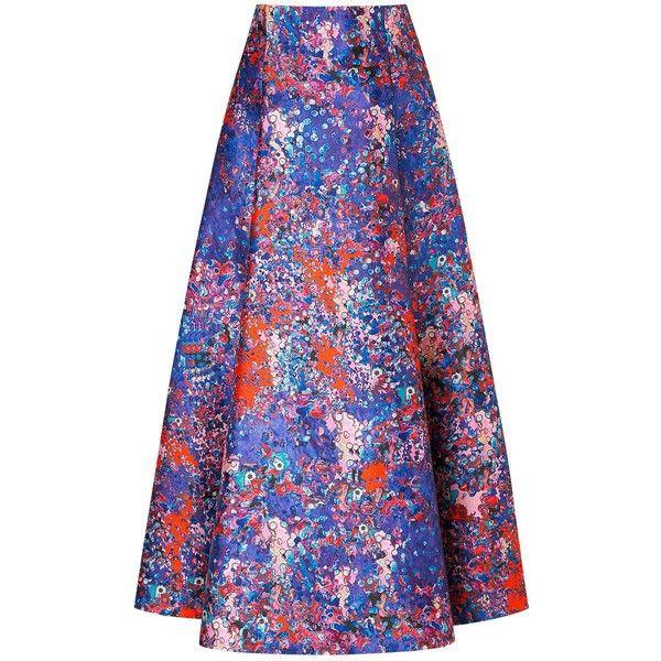 L.K. Bennett Brunele Printed Skirt, Blue (£250) ❤ liked on Polyvore featuring skirts, pleated midi skirt, flared skirt, flare skirt, blue knee length skirt and pleated skirt