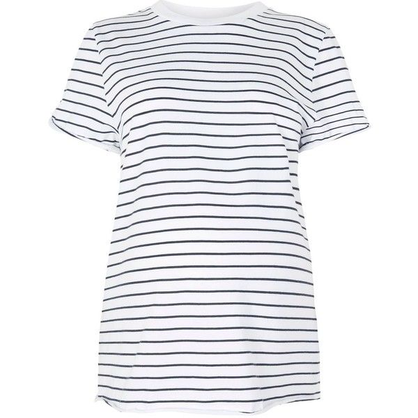 Topshop Maternity Stripe Roll Back T-Shirt (45 TND) ❤ liked on Polyvore featuring maternity, tops and navy blue