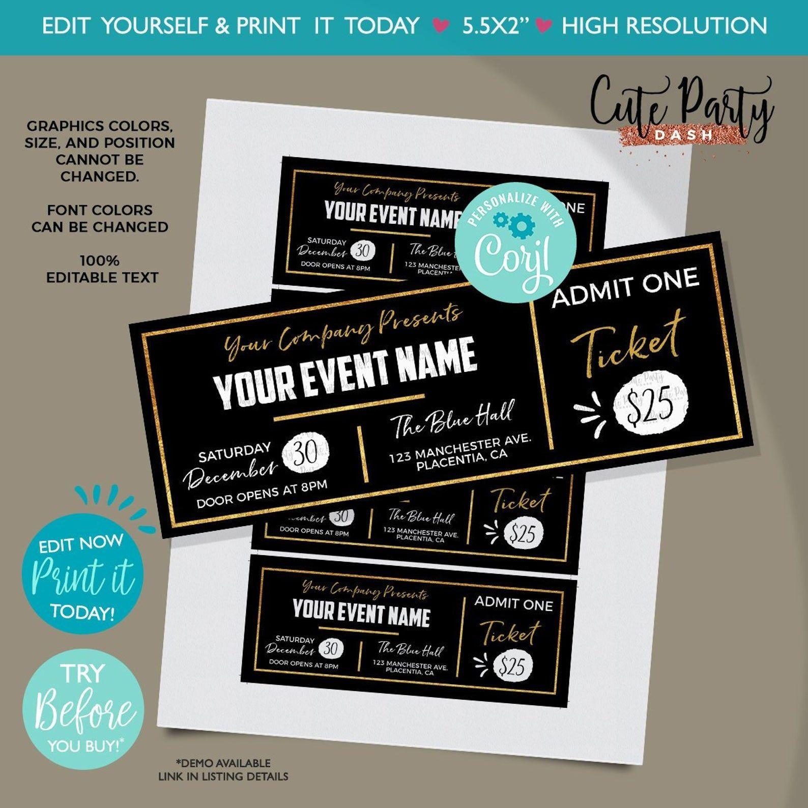 Instant Download Editable Event Golden Ticket Printable Etsy Ticket Template Printable Ticket Template Free Printables Template Printable Event ticket template free download