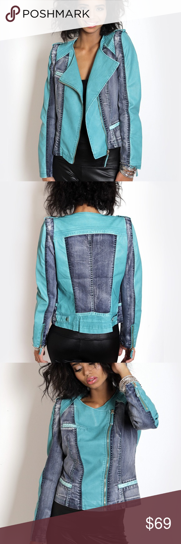 1 Day Sale! NWT Turquoise Faux Leather Jacket, M Boutique