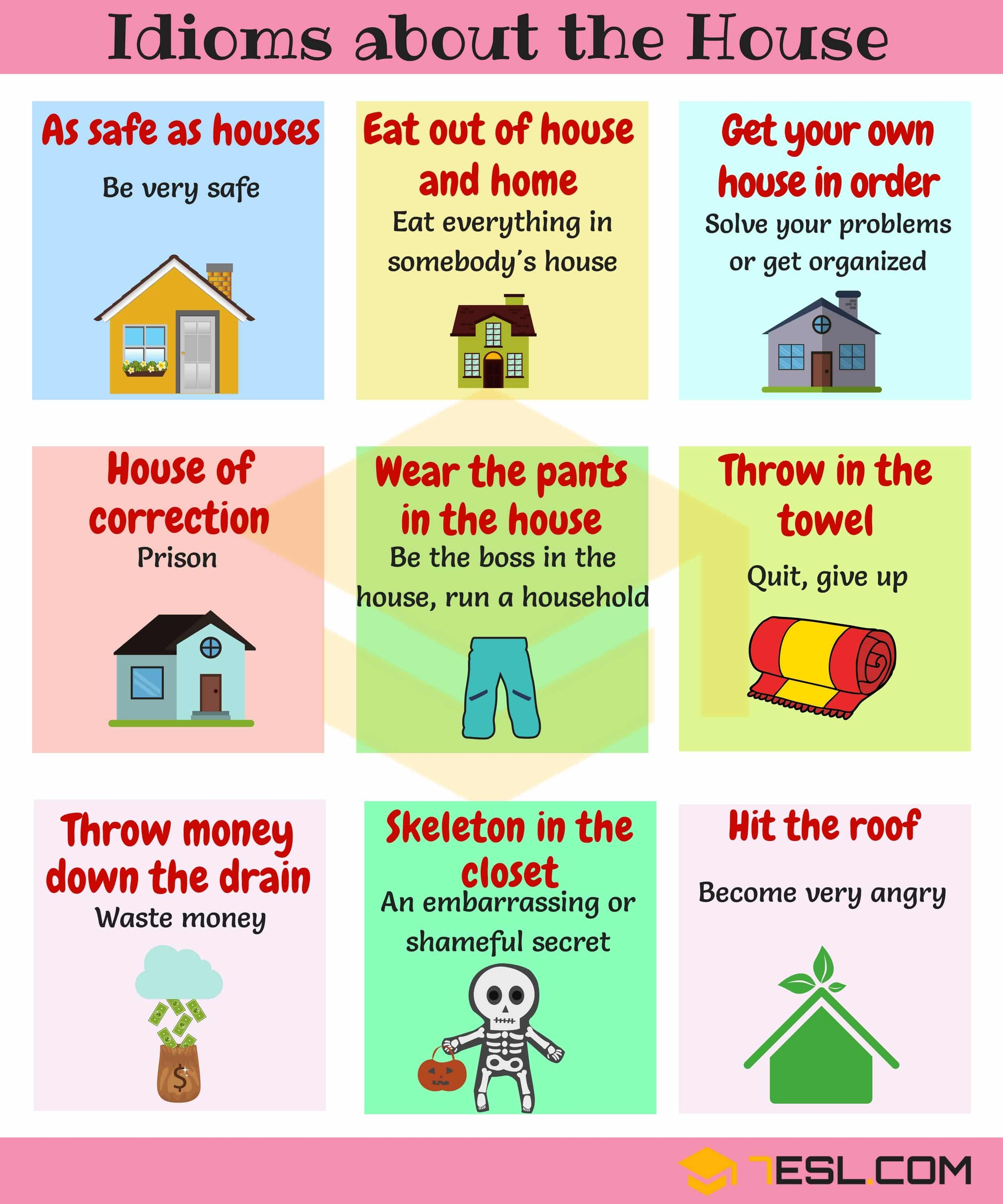 Home Idioms 28 Useful Idioms About The House And Home 7 E S L Idioms Learn English Vocabulary English Idioms