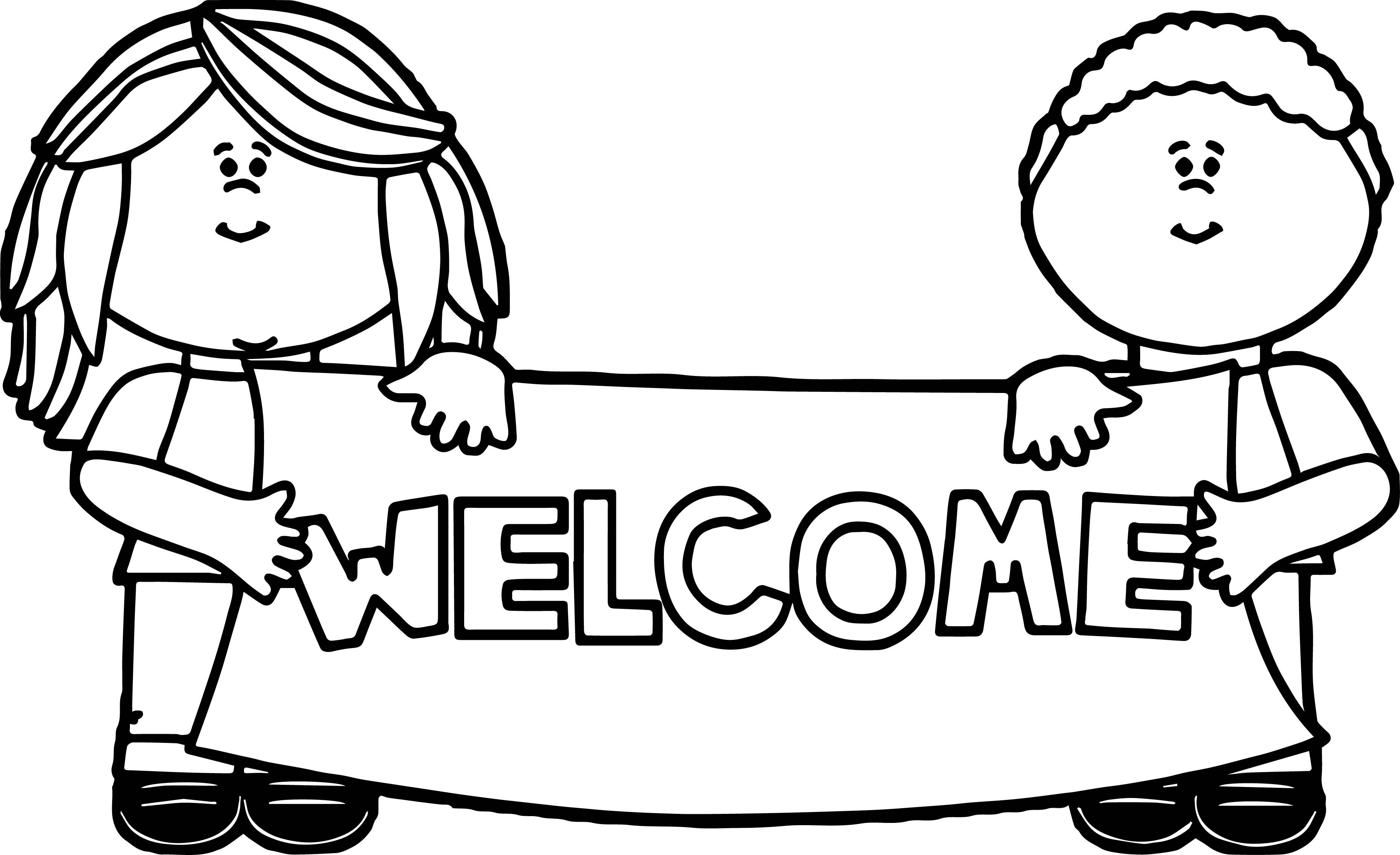 Awesome Kids Holding Welcome Sign Coloring Page School Coloring Pages Frog Coloring Pages Back To School Crafts