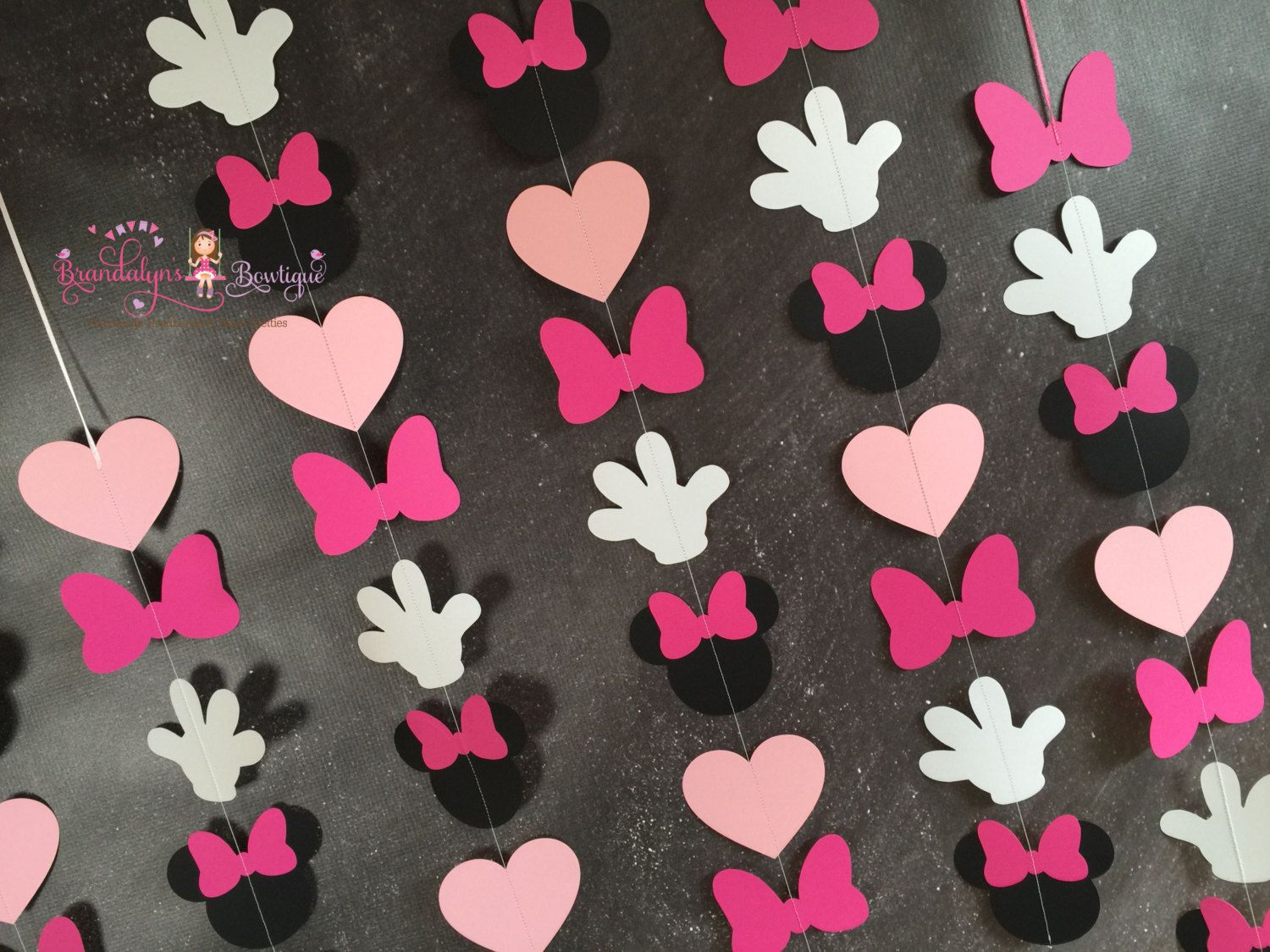 Minnie Mouse Garlands set of pink VERTICAL, Minnie Mouse Birthday garland, minnie mouse decoration, nursery or playroom