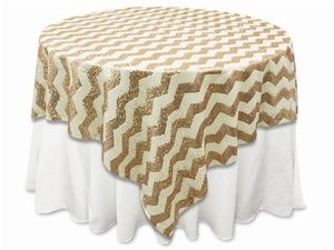 "72""x72"" Chevron Sequin Table Overlays - Champagne 