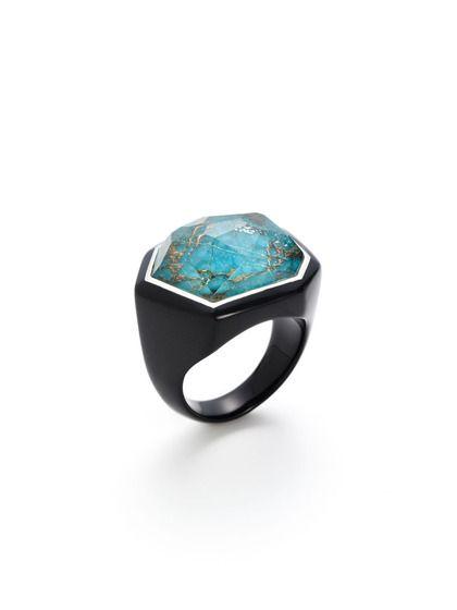 Black Resin & Turquoise Ring