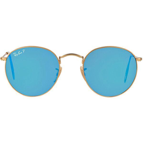 Ray-Ban Rb3447 50 Round Metal Gold Matte Sunglasses ( 200) ❤ liked ... 6b25b7aa48