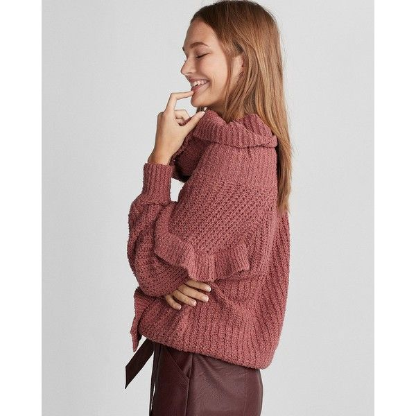 Express Oversized Ruffle Cowl Neck Sweater 42 Liked On
