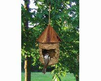 Small Hanging Natural Grass Twine Songbirds Bird House Birdhouse w/Roof