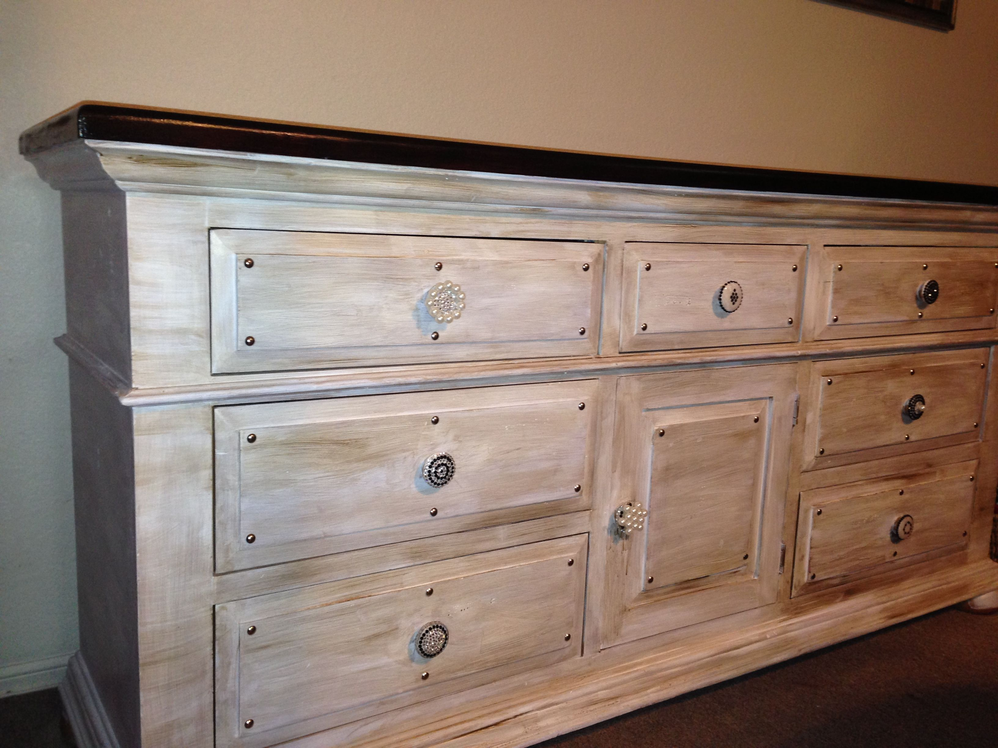 Bombay Stain On Top With Glazed Bottom And Hand Beaded Drawer