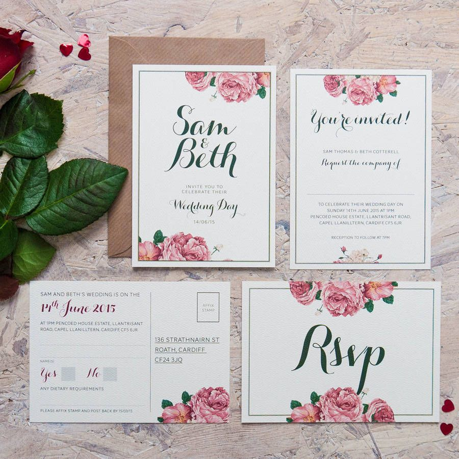 vintage rose wedding invitation by pip designs wedding stationery ...