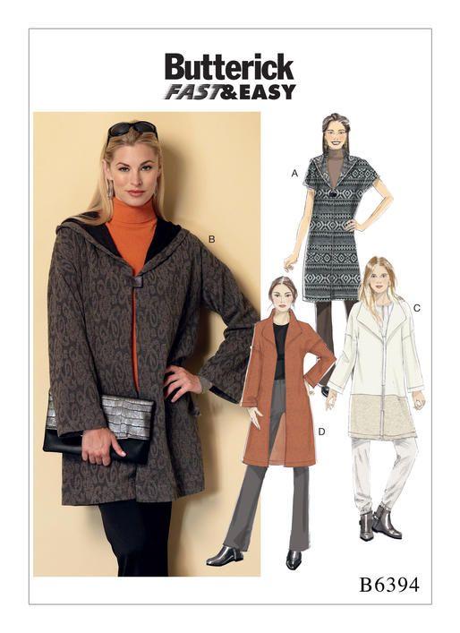 Butterick sewing pattern B6394: Misses' Shawl Collar Coats
