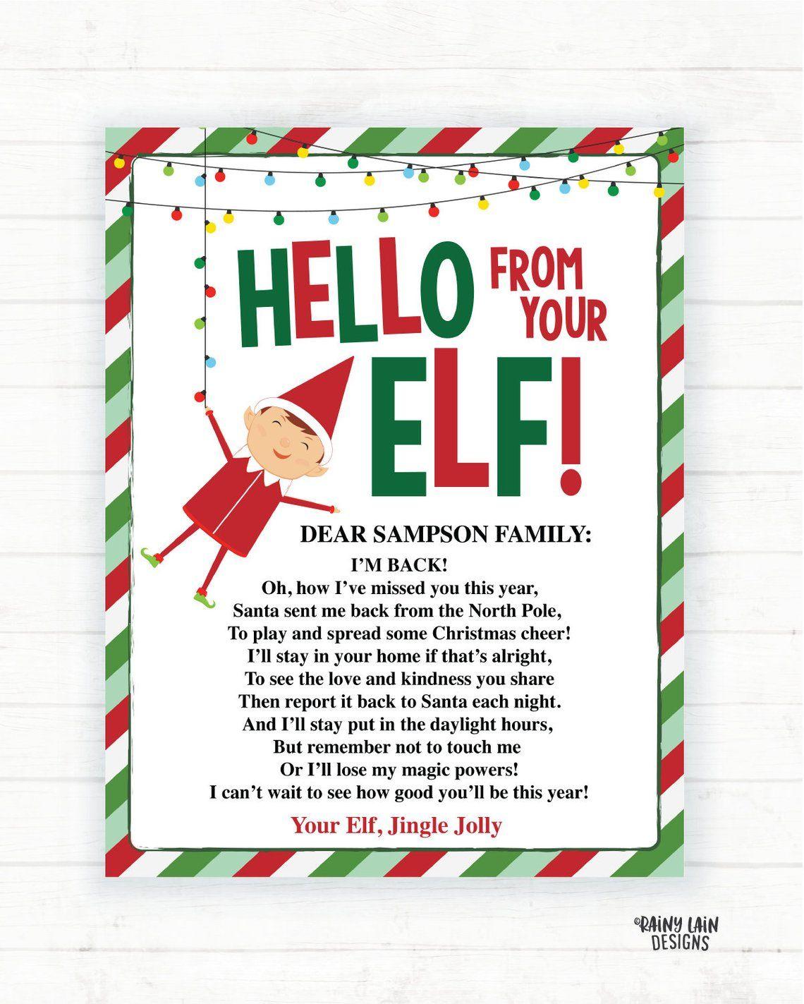 Elf Hello Letter Elf Goodbye Letter, Elf Return Letter