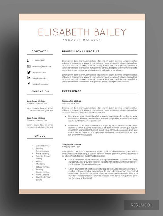Resume template, Resume Design, Cv template, Professional resume