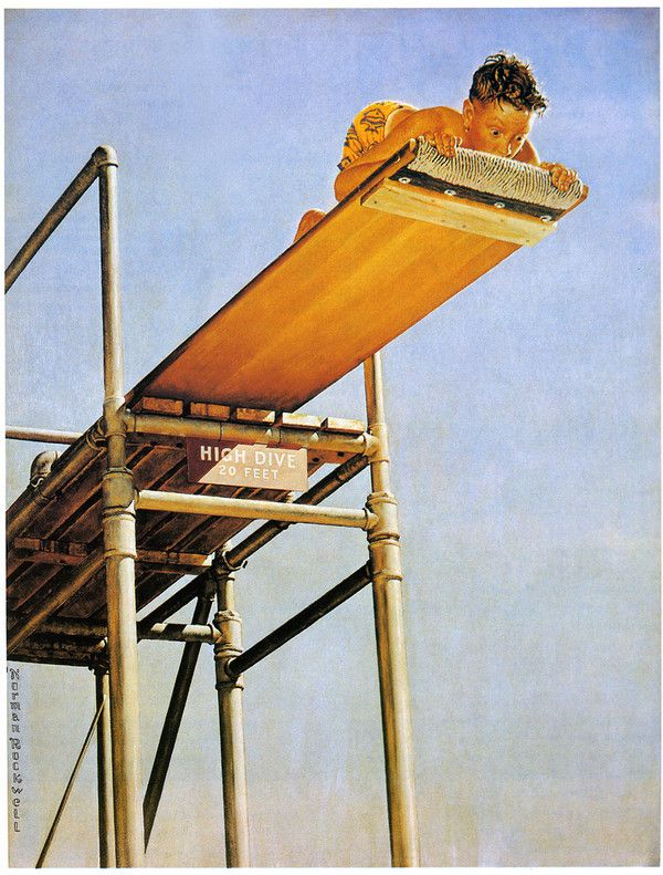 It's a long way down......(Norman Rockwell)