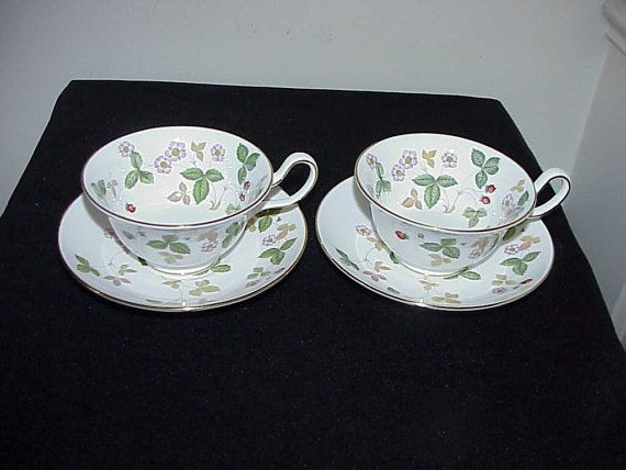 2 Wedgwood Wild Strawberry Peony Shaped Cups by thebestofthepast, $69.99