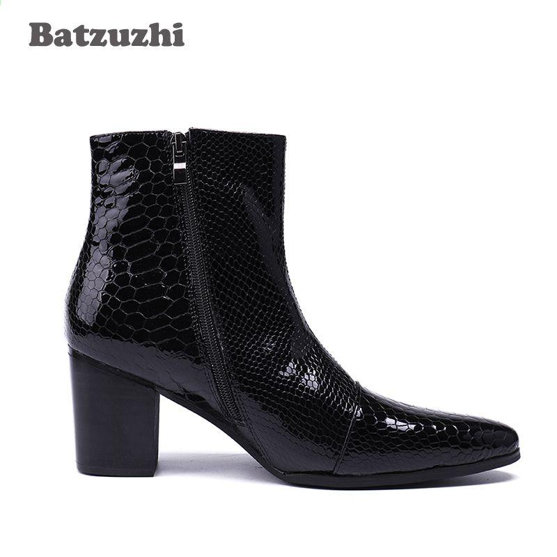 Batzuzhi 7 Cm Wysokie Obcasy Buty Meskie Szpiczasty Nosek Czarne Skorzane Buty Mezczyzni Przystojne Botki Dla Mezczyzn Slub I Impreza R Ankle Boot Boots Shoes