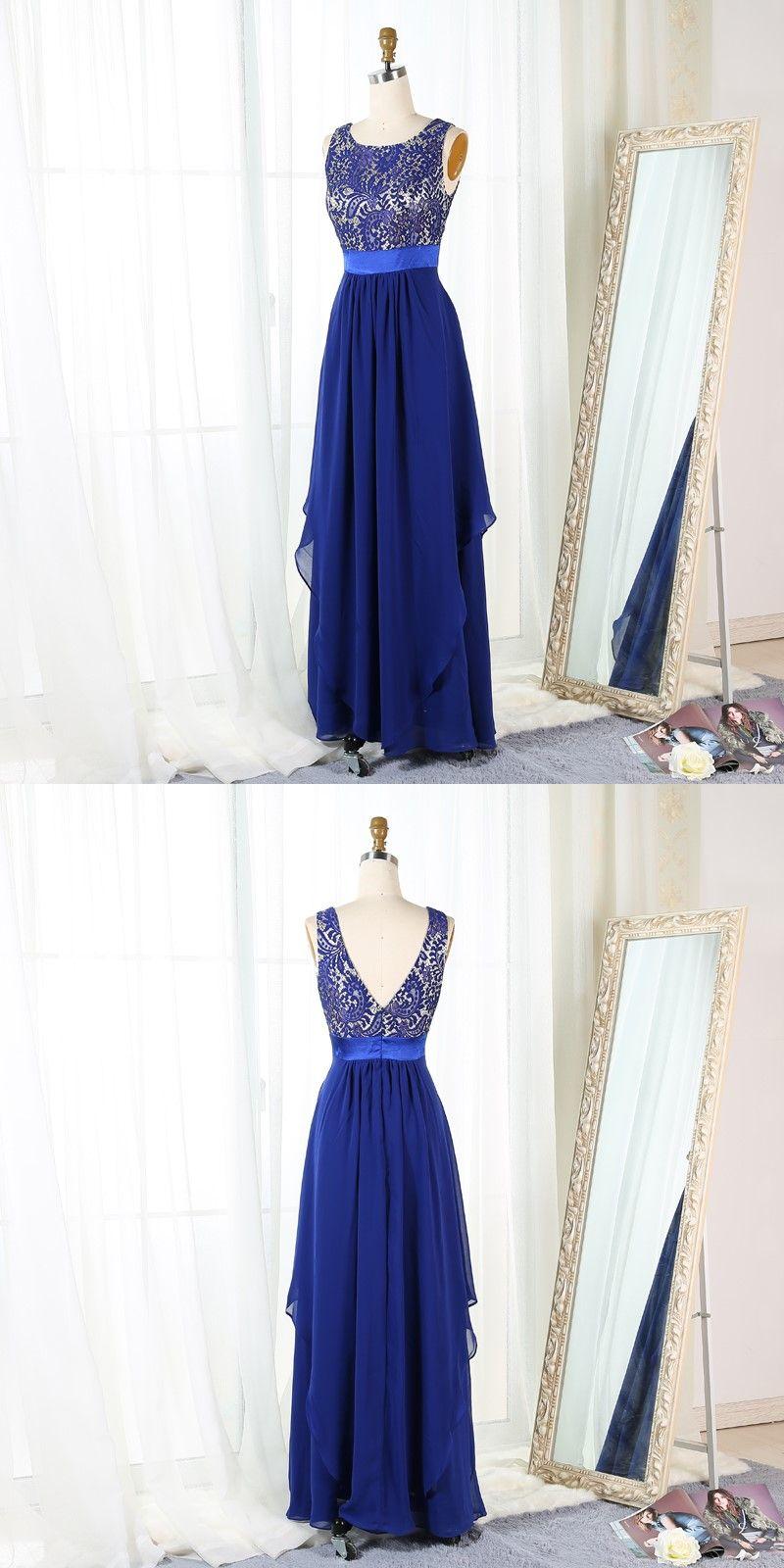Aline bateau floorlength royal blue chiffon prom dress with lace