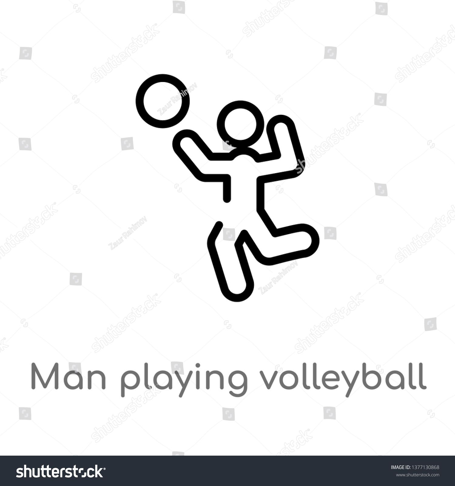 Man Playing Volleyball Vector Line Icon Simple Element Illustration Man Playing Volleyball Outline Icon From Sports Concept C Line Icon Icon Abstract Design