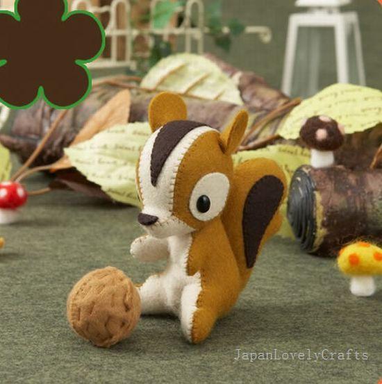 Stuffed Animal Squirrel Japanese Felt Diy Kit Die Cut Felt Easy