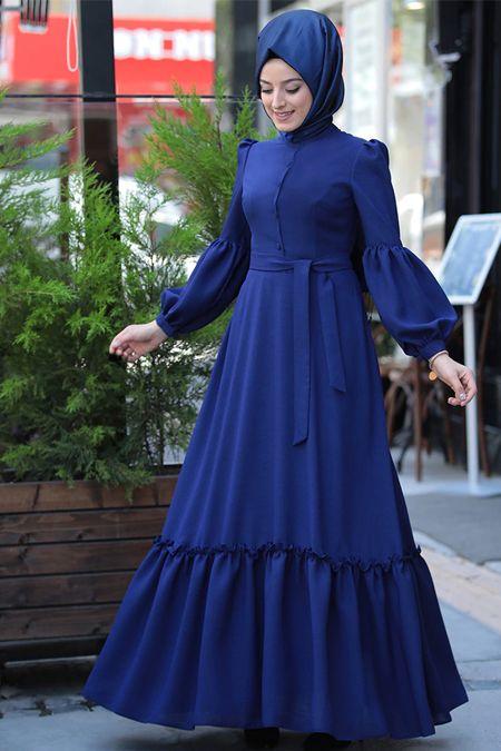Zehrace Indigo Balon Kollu Abiye Elbise Online Satis Indirimli Satin Al Islami Giyim Elbise Elbiseler