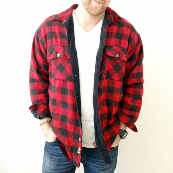 Fleece Lined Buffalo Plaid Flannel Shirt Jacket Red And