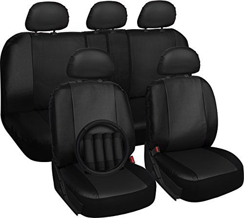 Superb Oxgord 17Pc Set Pu Leather Solid Black Auto Seat Covers Caraccident5 Cool Chair Designs And Ideas Caraccident5Info