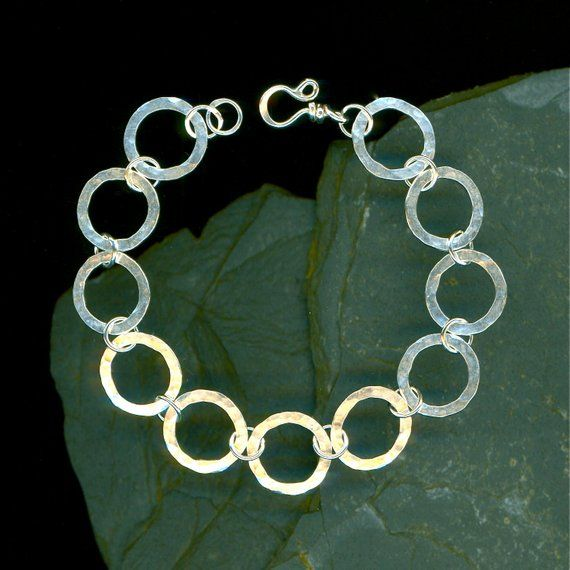8bad9e7bdf4 Hammered Bracelet Large Circle Sterling Silver Hammered Metalwork Link Wire  Wirework Jewelry