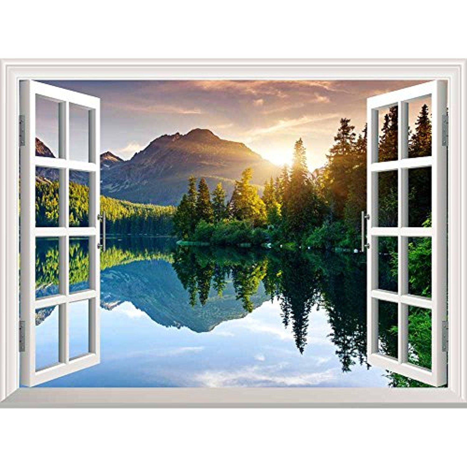 Wall26 Peaceful Landscape With Lake And Mountains Out Of The Open Window Removable Wall Mural Sticker Home Decor Large Wall Murals Wall Murals Photo Mural