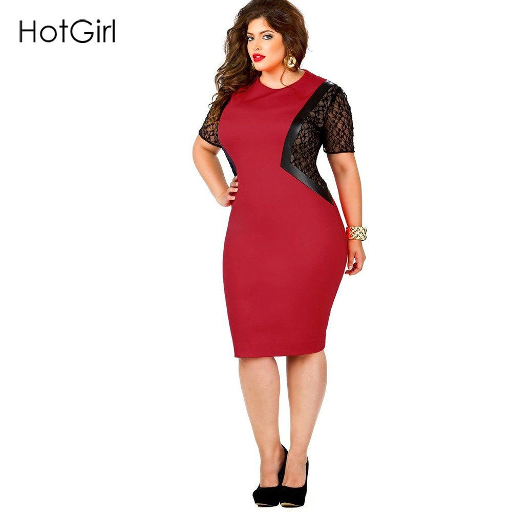 Black lace patchwork party red faux leather dress leather dresses