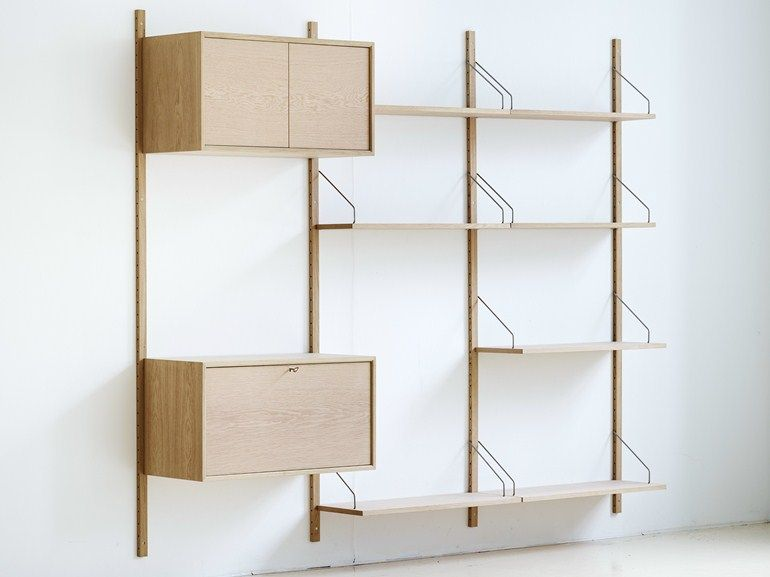 Wall-mounted sectional oak shelving unit ROYAL SYSTEM® by DK3 ApS ...