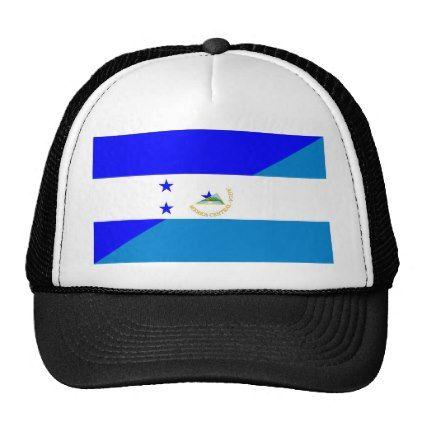 #country - #honduras nicaragua half flag country symbol trucker hat
