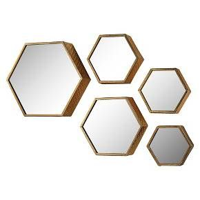Lazy Susan Set of 5 Hexagonal Gold Mirrors : Target