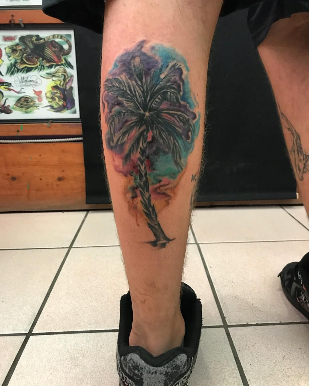Watercolor Palm Tree Tattoo Palm Tree Tattoo Tree Tattoo Tattoos