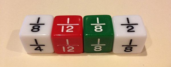 Fraction Games: Roll and put it on the numberline. Roll and write out the fraction. Roll twice and compare the two fractions. Roll and add the two fractions.