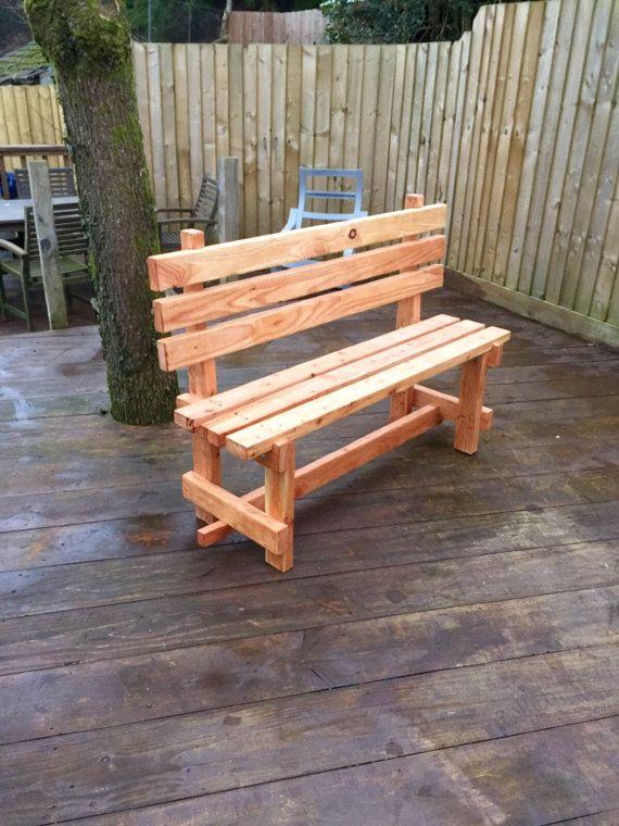 Banco de madera rojo por CalonycoedCreations en Etsy maderas - como hacer bancas de madera para jardin